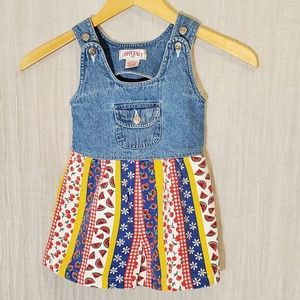Girls vintage denim & bright color romper, size 2T